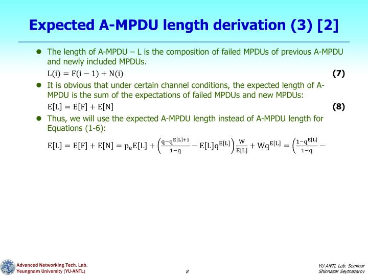 Expected A-MPDU length derivation