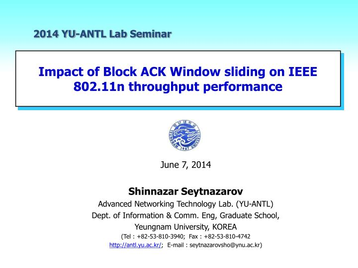 Impact of block ack window sliding on ieee 802 11n throughput performance
