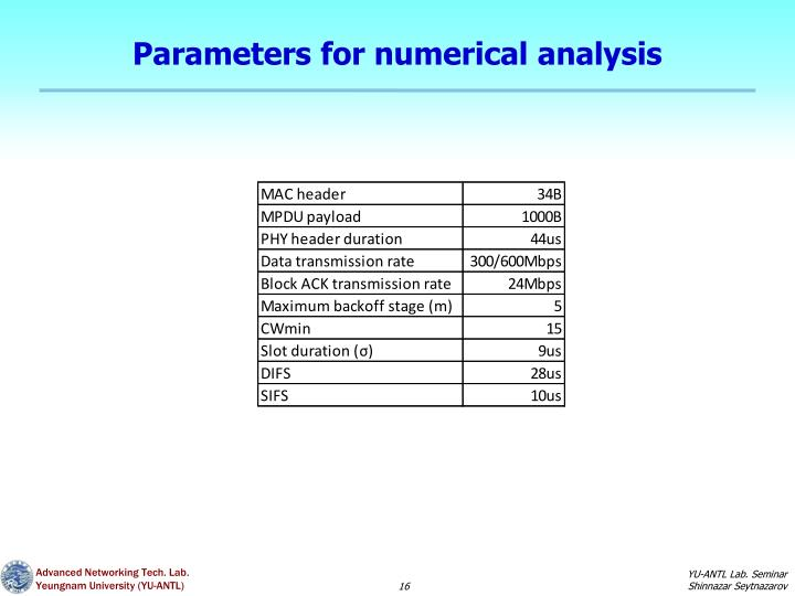 Parameters for numerical analysis