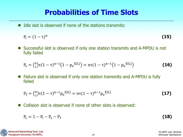 Probabilities of Time Slots