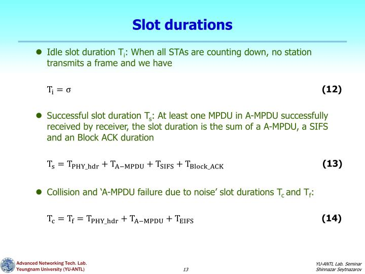 Slot durations