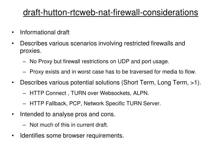 Draft hutton rtcweb nat firewall considerations