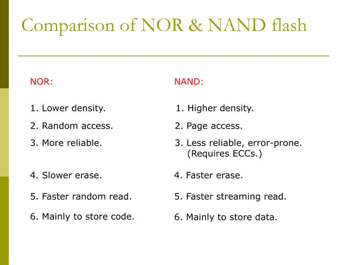 Comparison of NOR & NAND flash