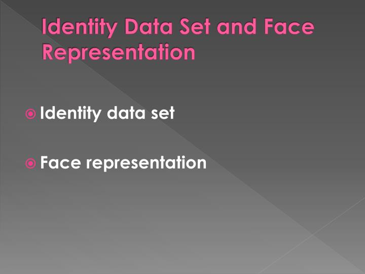 Identity Data Set and Face Representation