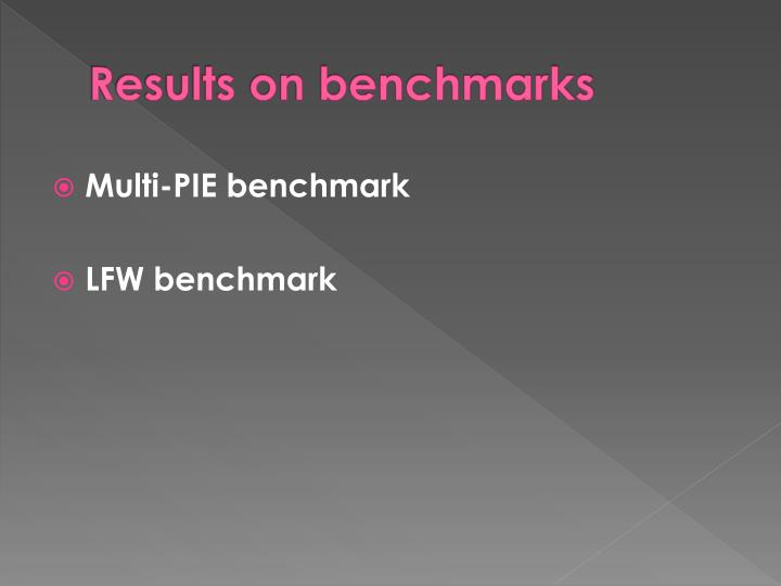 Results on benchmarks