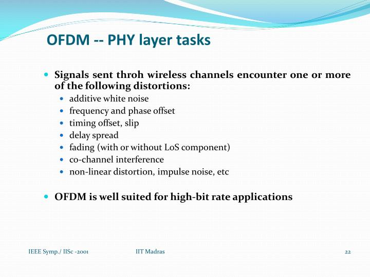 OFDM -- PHY layer tasks