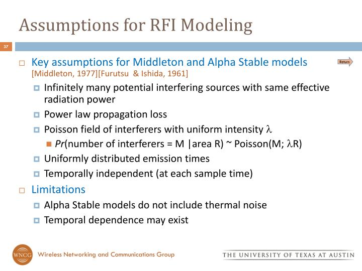Assumptions for RFI Modeling