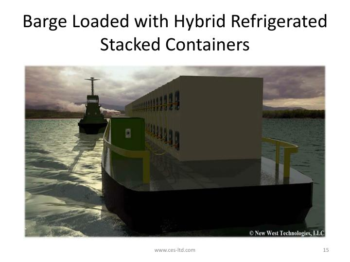 Barge Loaded with Hybrid Refrigerated Stacked Containers