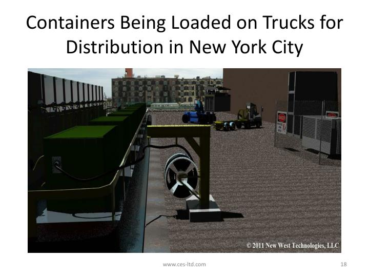 Containers Being Loaded on Trucks for Distribution in New York City