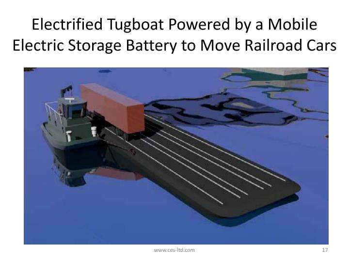 Electrified Tugboat Powered by a Mobile Electric Storage Battery to Move Railroad Cars