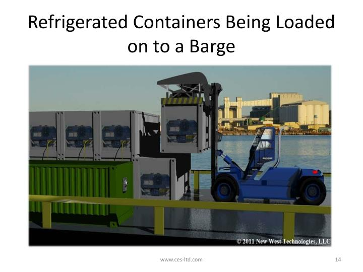 Refrigerated Containers Being Loaded on to a Barge