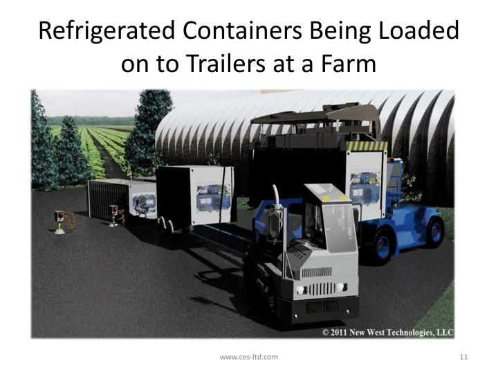 Refrigerated Containers Being Loaded on to Trailers at a Farm