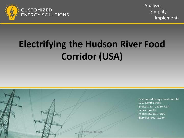 Electrifying the Hudson River Food Corridor (USA)
