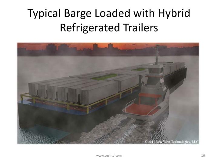 Typical Barge Loaded with Hybrid Refrigerated Trailers