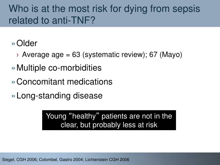 Who is at the most risk for dying from sepsis related to anti-TNF?