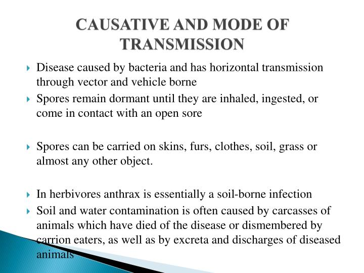 CAUSATIVE AND MODE OF TRANSMISSION
