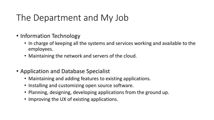 The Department and My Job