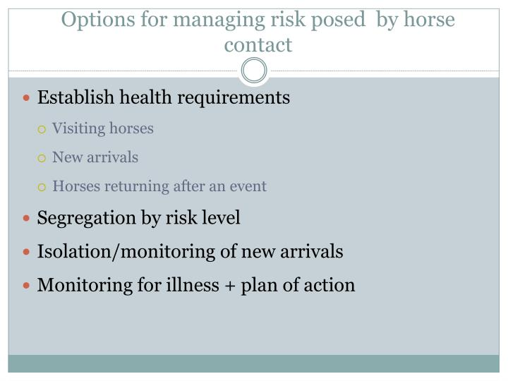Options for managing risk posed  by horse contact