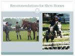 recommendations for show horses