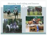 showing trail riding and lessons