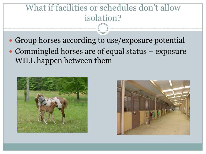 What if facilities or schedules don't allow isolation?