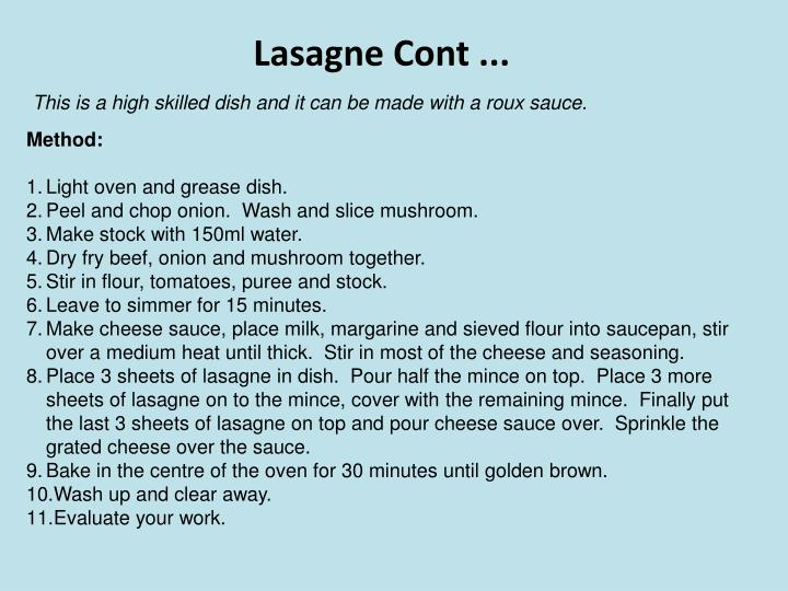 Lasagne Cont ...
