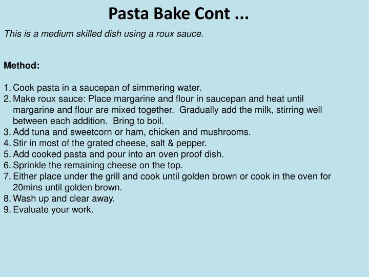 Pasta Bake Cont ...