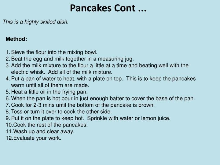 Pancakes Cont ...