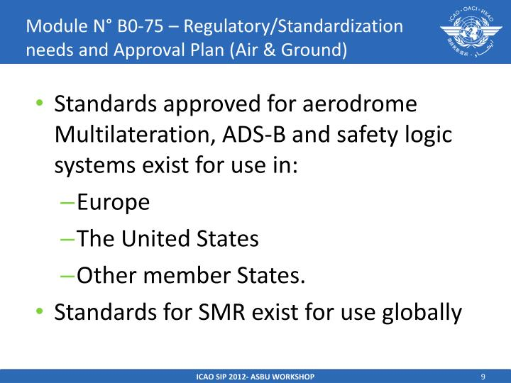 Module N° B0-75 – Regulatory/Standardization needs and Approval Plan (Air & Ground)