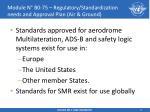 module n b0 75 regulatory standardization needs and approval plan air ground