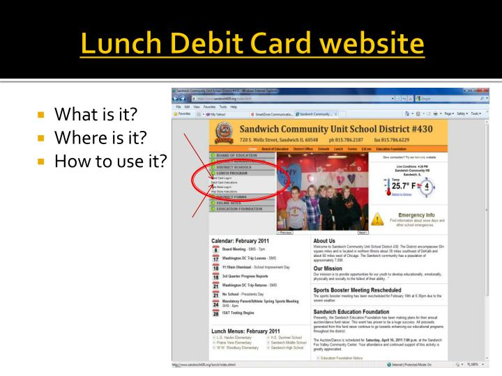 Lunch Debit Card website