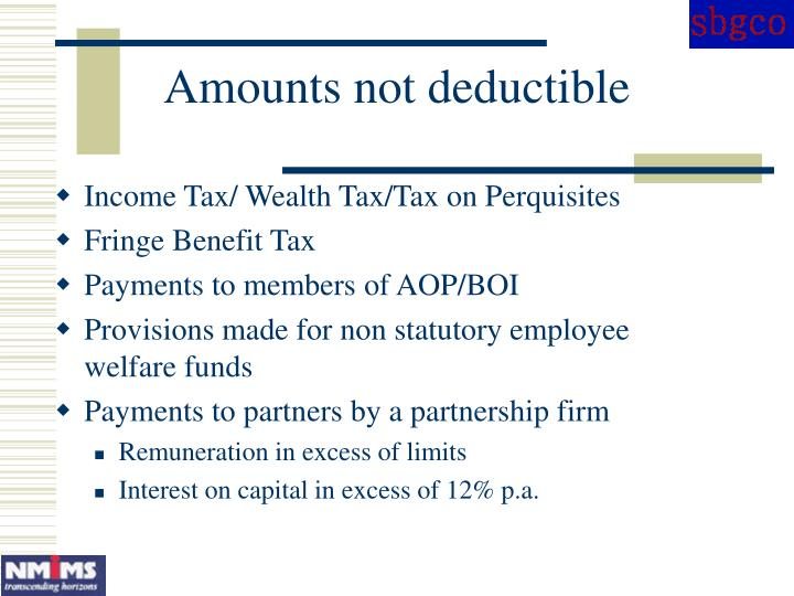 Amounts not deductible
