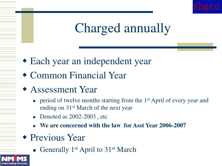 Charged annually