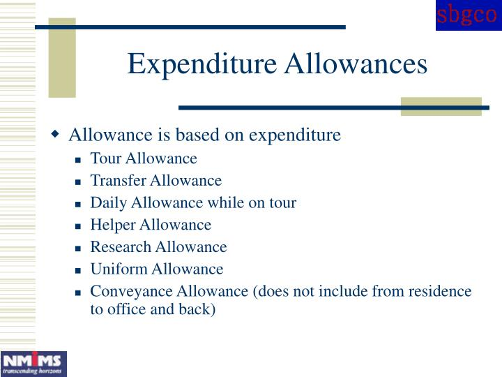 Expenditure Allowances