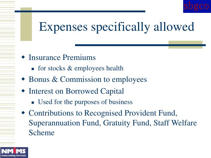 Expenses specifically allowed