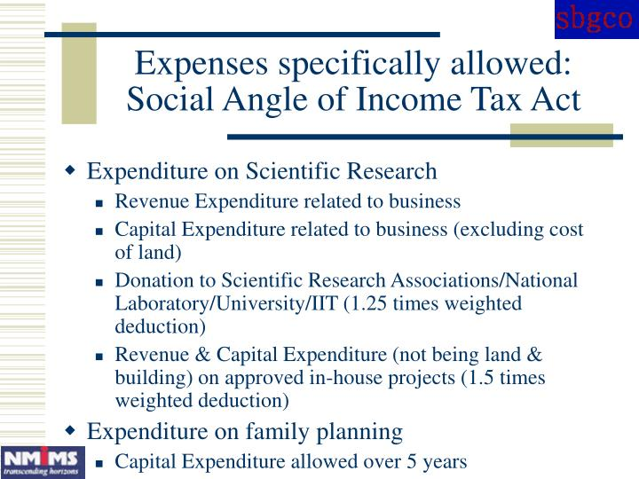 Expenses specifically allowed: