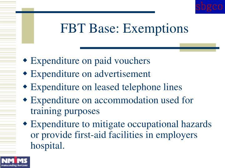 FBT Base: Exemptions