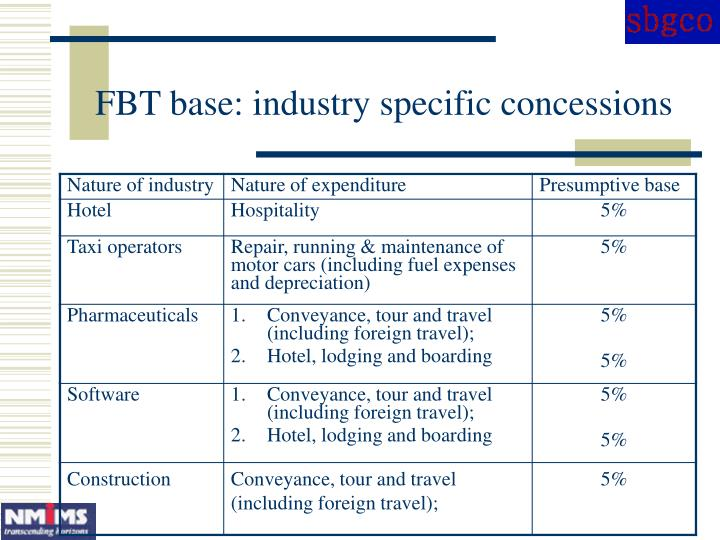 FBT base: industry specific concessions