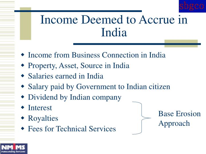 Income Deemed to Accrue in India