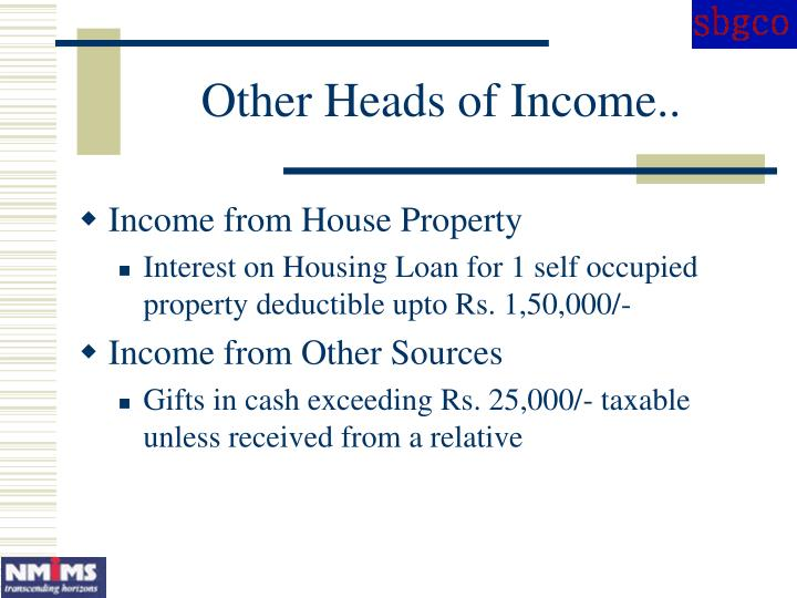 Other Heads of Income..