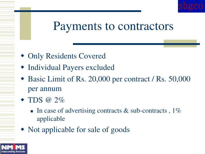 Payments to contractors