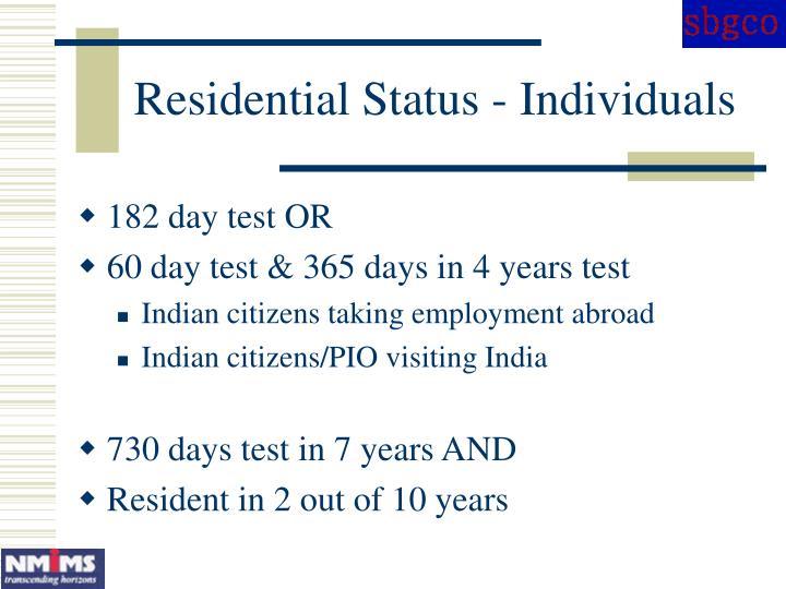Residential Status - Individuals