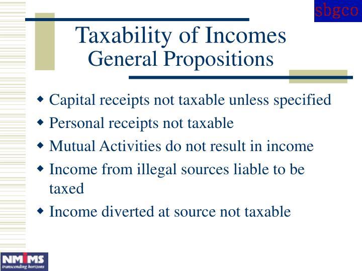Taxability of Incomes