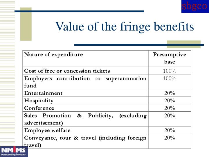Value of the fringe benefits