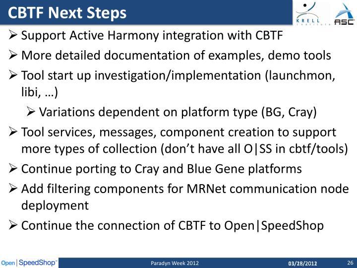 CBTF Next Steps