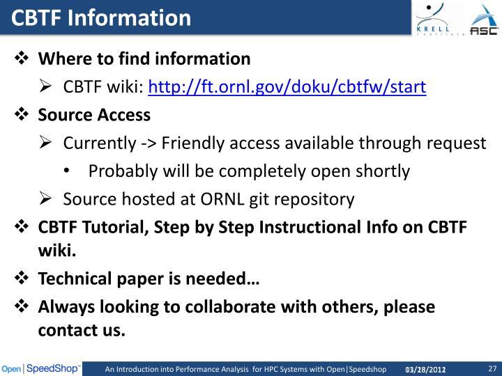 CBTF Information
