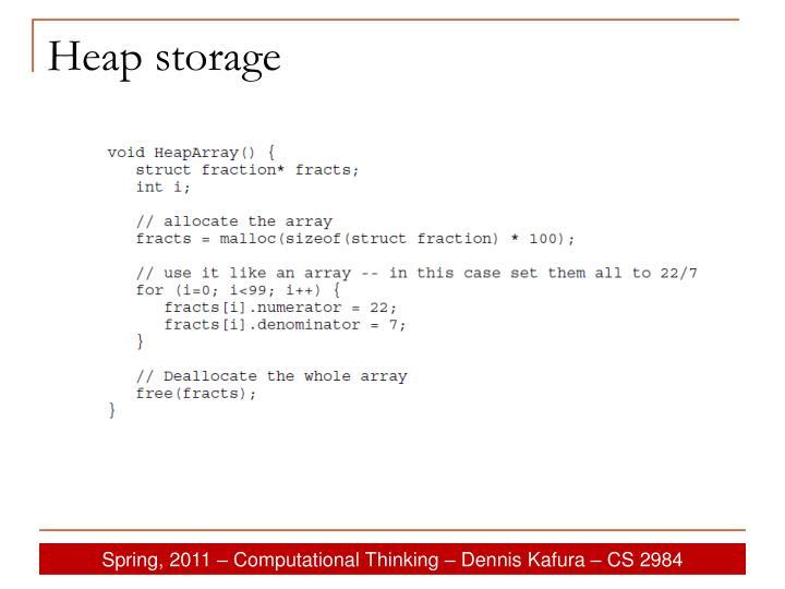 Heap storage