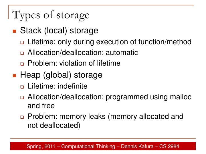 Types of storage