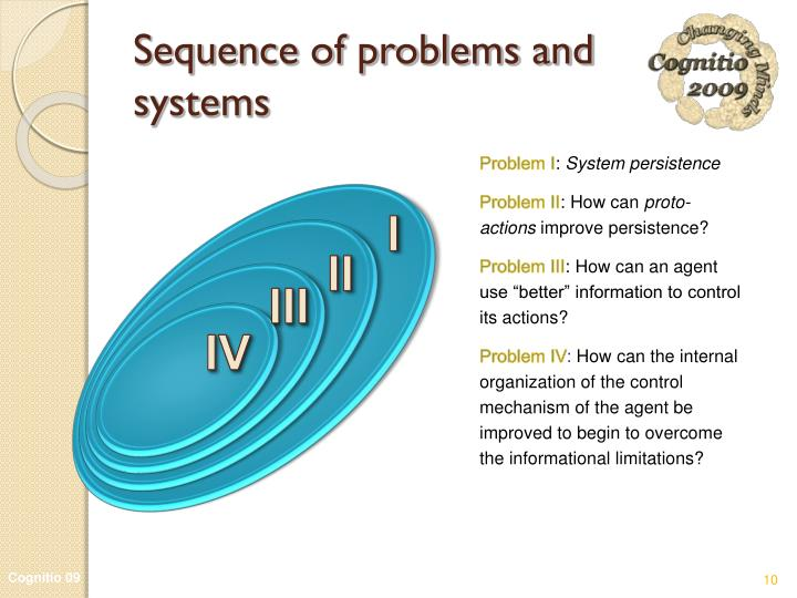 Sequence of problems and systems