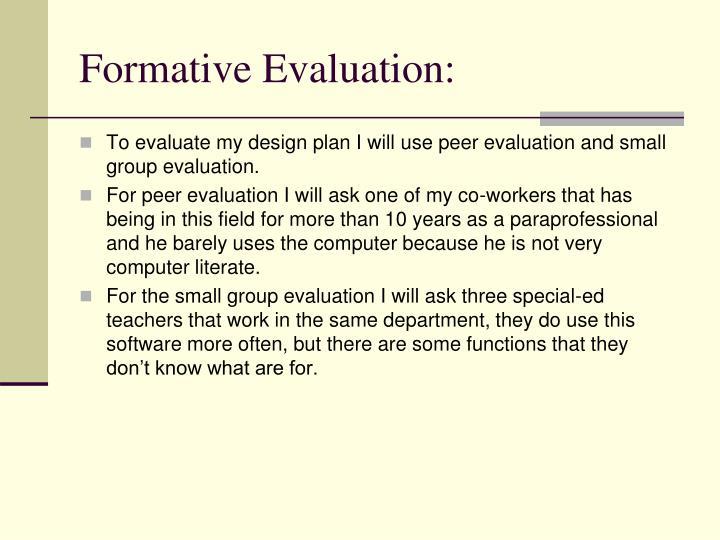Formative Evaluation: